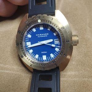 Maranez Samui Brass Dive Watch - Brushed Blue Dial